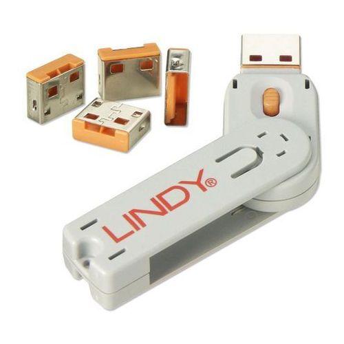 Lindy USB Port Lock (4 sztuki) z kluczem, pomarańczowy (4002888404532)