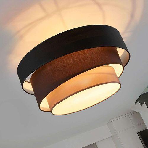 Klasyczna okrągła lampa sufitowa czarna z 3-warstwowym kloszem - melia marki Lindby