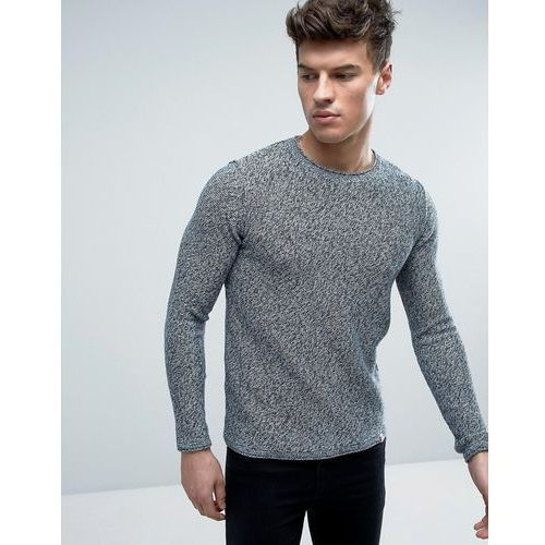 originals 100% cotton crew neck knitted jumper in mixed yarn - black marki Jack & jones
