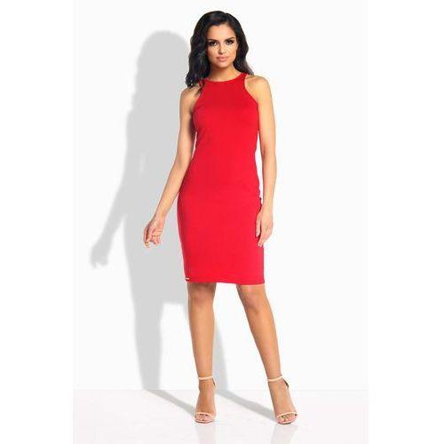 Czerwona Sukienka Ołówkowa do Kolan bez Rękawów, kolor czerwony