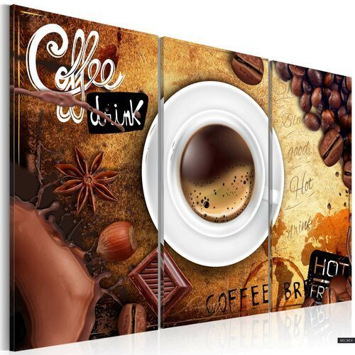 Selsey cup of coffee 3 piece canvas print 60x40 cm