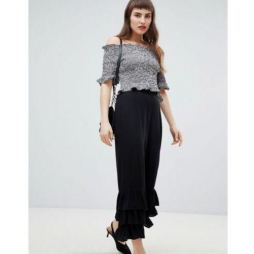 tiered frill hem straight leg trousers - black, River island