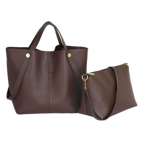 Czekoladowa torebka damska shopper bag - brązowy, kolor brązowy