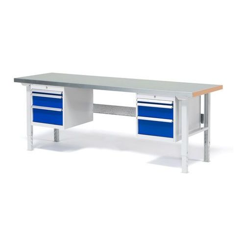 Stół roboczy solid, zestaw z 6 szufladami, 750 kg, 2000x800 mm, stal marki Aj produkty