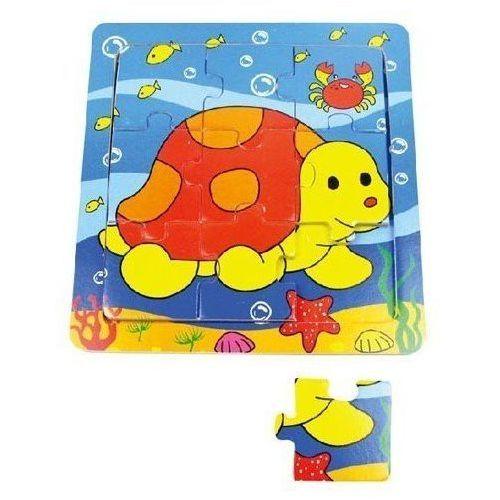 Playme Puzzle drewniane małe żółw