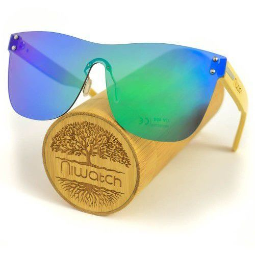 Drewniane okulary przeciwsłoneczne pavo green mirror marki Niwatch