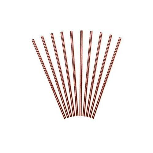 Słomki papierowe rurki różowo-złote - 250 szt. marki Party deco