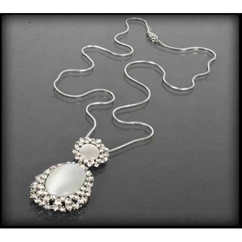 Srebrny naszyjnik z mlecznymi kamieniami - srebrny ||bezbarwny ||mleczny, kolor srebrny