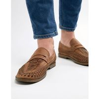 New look faux leather woven loafers in tan - tan