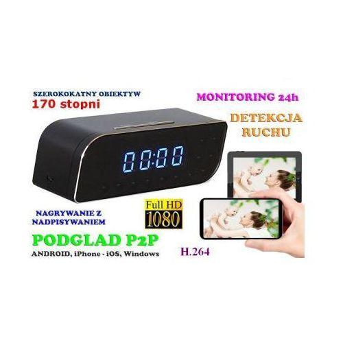 Szpiegowska Kamera FULL HD WiFi/P2P Dz.-Nocna (cały świat!) Ukryta w Zegarku Biurkowym + Zapis..., 5907773414983