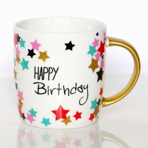 Kubek Happy Birthday w boxie prezentowym – prezent upominek na urodziny z kubkiem na kawę i herbatę