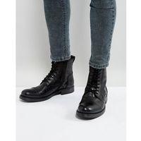 Jack & Jones Russel Leather Lace Up Boots - Black
