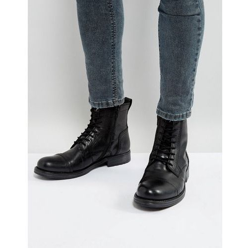 Jack & jones russel leather lace up boots - black