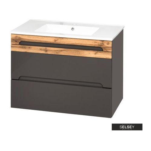 SELSEY Szafka pod umywalkę Warner szara 80 cm, kolor szary