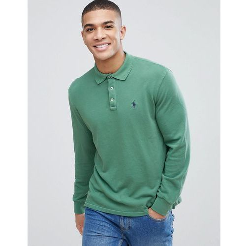 Polo ralph lauren long sleeve terry regular fit polo player in green - green
