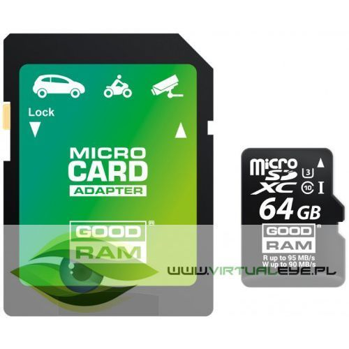 Virtualeye Karta pamięci micro sd goodram uhs1 cl10 u3 64gb + adapter