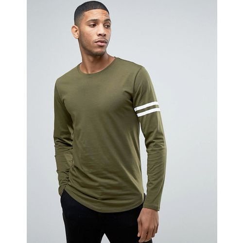 Only & sons Only and sons longline t-shirt with arm stripes and curved hem - green