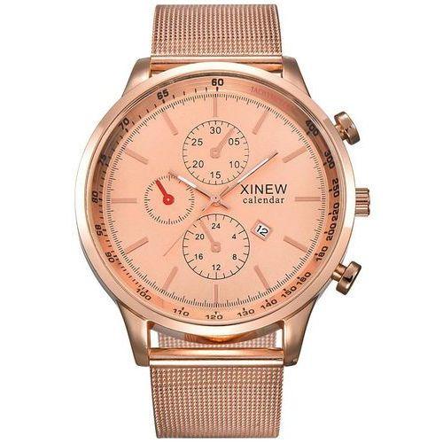 Zegarek męski bransoleta czerwone złoto - rose gold marki Xinew