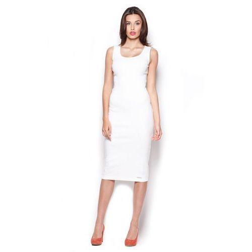 Ecru Bawełniana Sukienka Midi bez Rękawów, 1 rozmiar