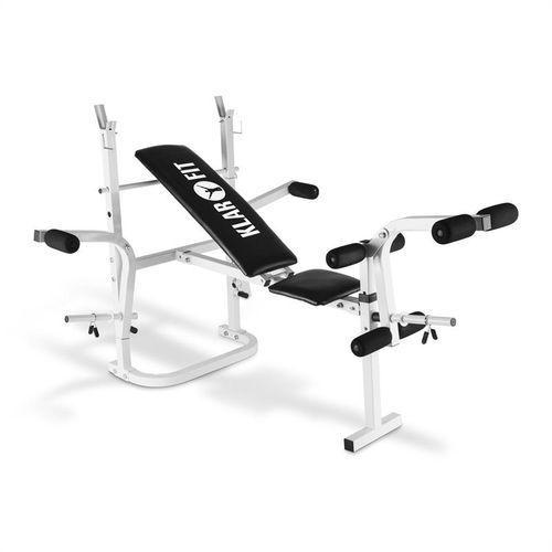 hb3bc-w ławeczka pod sztangę ze stojakiem bicepsy mięśnie nóg kolor biały marki Klarfit