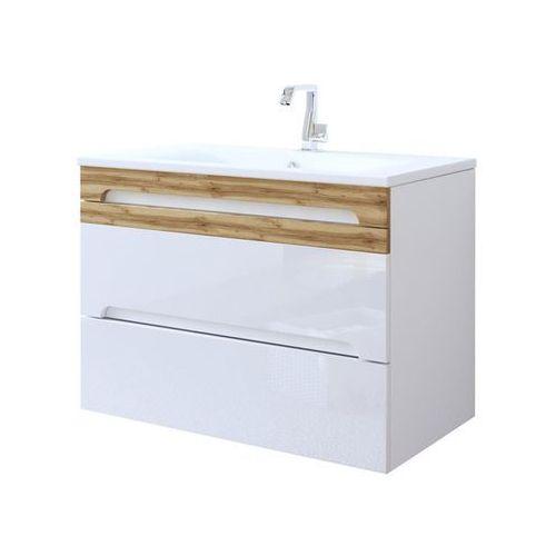 Szafka łazienkowa wisząca 80 cm pod umywalkę Galaxy White