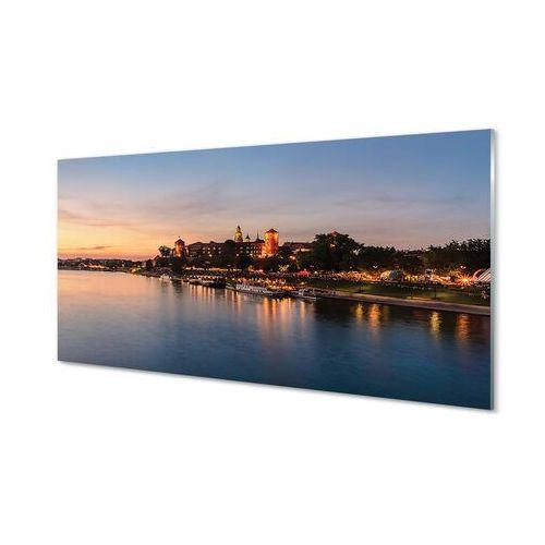 Obrazy na szkle Kraków Zachód słońca rzeka zamek