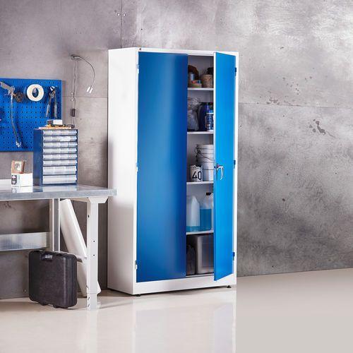 Metalowa szafa Korpus: biały Drzwi: niebieski