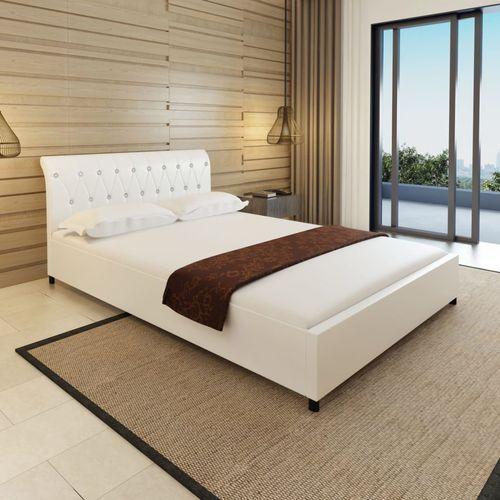 białe łóżko z zagłówkiem w stylu chesterfield + materac 140 x 200 cm marki Vidaxl