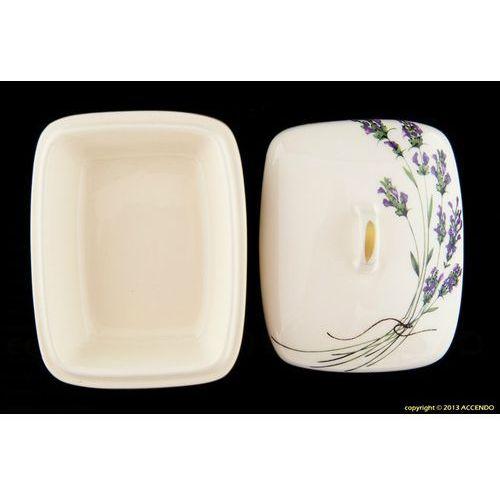 Mieroszów Maselnica prostokątna z ceramiki lawenda