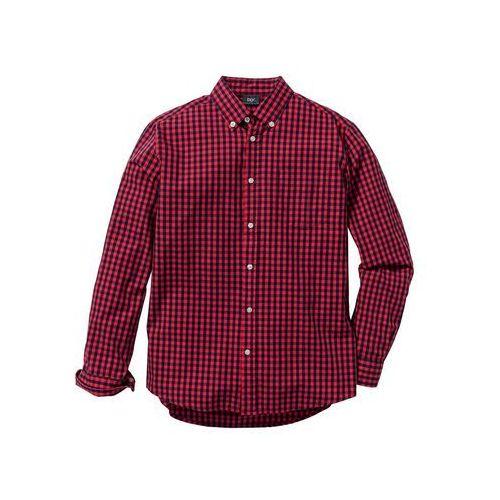 Koszula z długim rękawem regular fit czerwono-ciemnoniebieski w kratę marki Bonprix