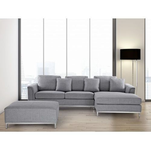 Sofa narożna L tapicerowana jasnoszara OSLO (7081452397262)