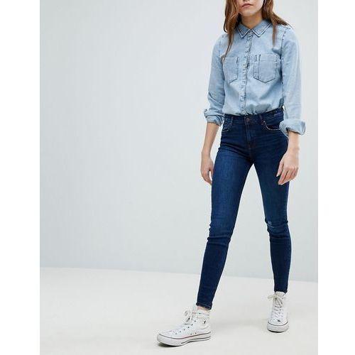 Bershka Worn Knee Skinny Jeans - Blue, skinny