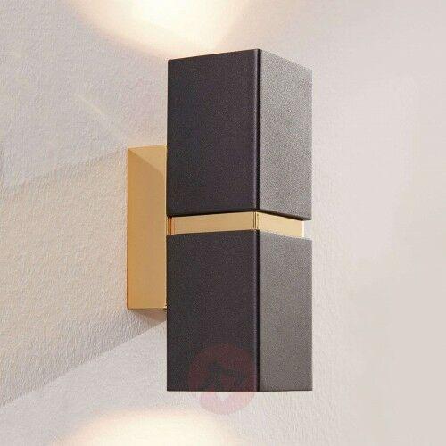 2-punktowy kinkiet LED Passa, czarno-złoty