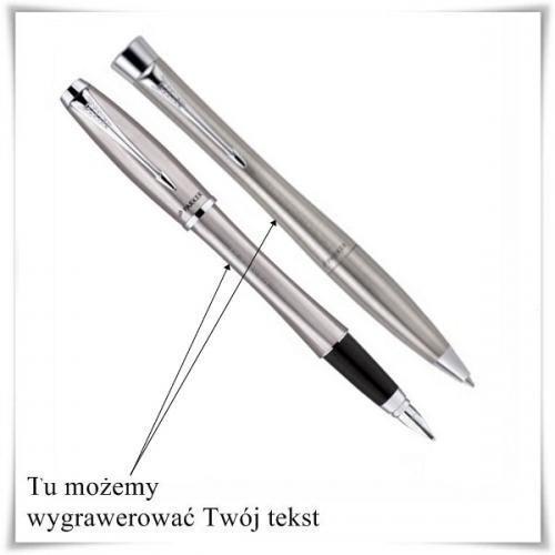 Zestaw długopis i pióro Parker Urban stalowy z opcją grawerowania dedykacji z kategorii Na imieniny dla męża