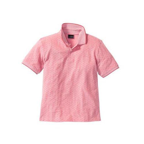 Bonprix Shirt polo w delikatny wzór regular fit  jasnoróżowy w kropki