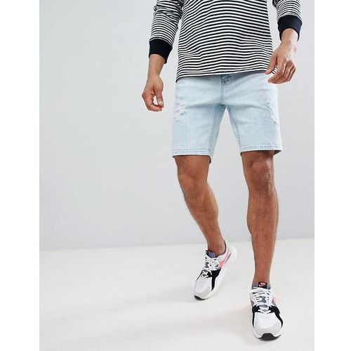 Bershka Slim Fit Denim Shorts In Light Blue With Abrasions - Blue