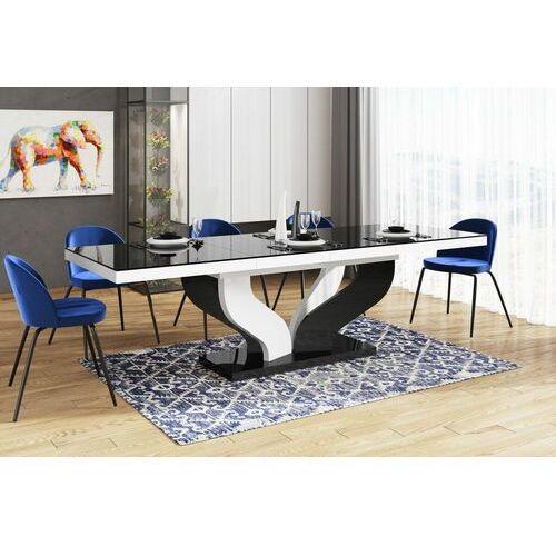 Stół rozkładany VIVA 160-256 Czarno-biały mix połysk