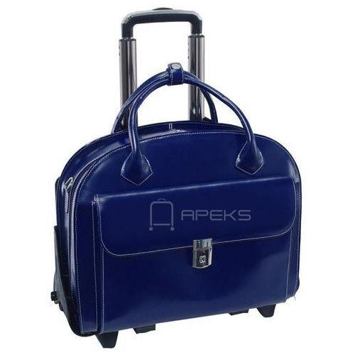 "glen ellyn torba damska z naturalnej skóry na laptopa 15,6"" - granatowy marki Mcklein"