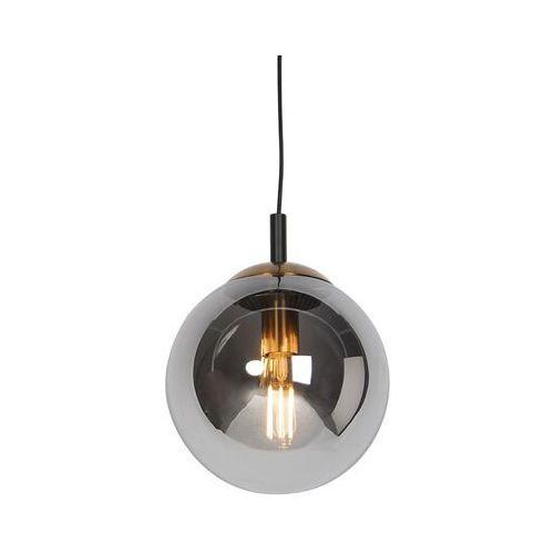 Lampa wisząca art deco czarna przydymione szkło 25cm - pallon bulla marki Honsel