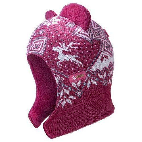 Kama Dziecięca dzianinowa czapka kominiarka  b62 114 różowa