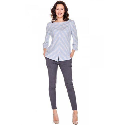 Niebieska bluzka w asymetryczne paski - Duet Woman