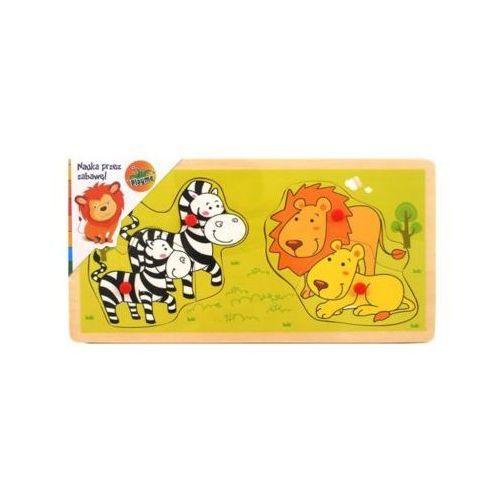 Brimarex Układanka z pinezkami zebry i lwy