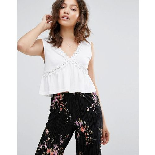 lace peplum cami top - white, New look