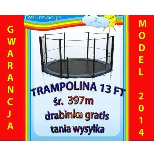Brak Trampolina ogrodowa z siatką śr. 13ft, 397cm,4m + drabinka.