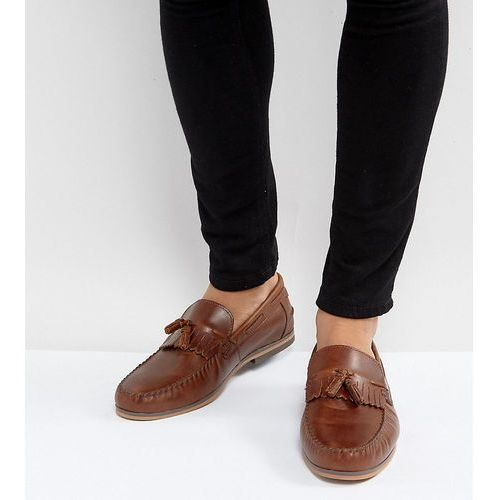 Asos  wide fit tassel loafers in tan leather with fringe and natural sole - tan