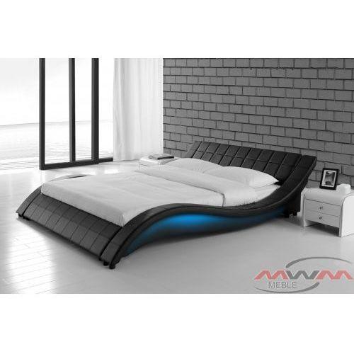 Łóżko tapicerowane do sypialni 160x200 839 led czarne marki Meblemwm
