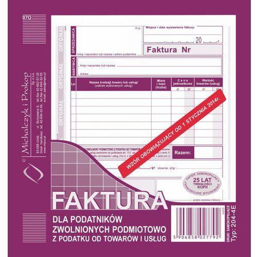 Michalczyk i prokop Faktura dla podat. zwol. podmiot. michalczyk&prokop 204-4e - a5 (oryginał+kopia)