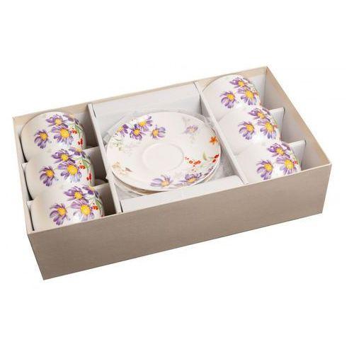 6 filiżanki ze spodkami z porcelany kwiaty prezent marki Home