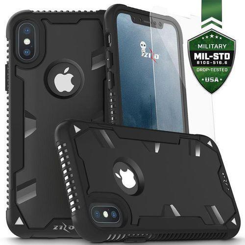 Zizo Proton Case Etui Pancerne iPhone Xs / X (Black/Solid Black) + Szkło Hartowane Na Ekran