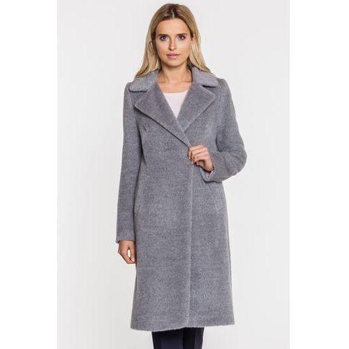 Szary, długi płaszcz z suri alpaki i wełny dziewiczej - Patrizia Aryton